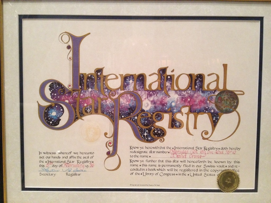 My star certificate