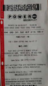 Photo of Powerball Lottery ticket