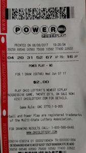 Photo of Powerball Lottery ticket