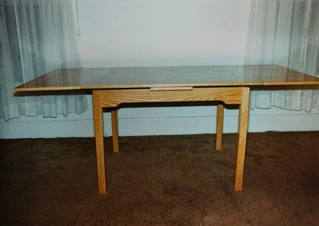A photo of a table David Crone crafted.